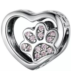 Jewelry - 925 Sterling Silver Dog Cat Paw Heart Charm